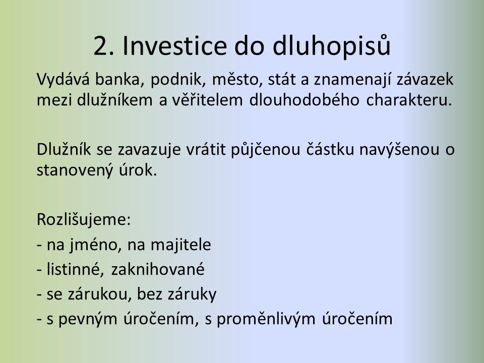 2. Investice do dluhopisů Vydává banka, podnik, město, stát a znamenají závazek mezi dlužníkem a věřitelem dlouhodobého charakteru. Dlužník se zavazuj