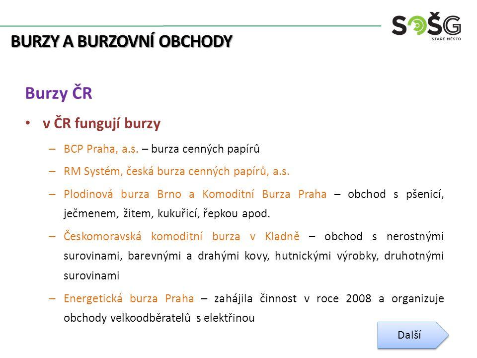 BURZY A BURZOVNÍ OBCHODY Burzy ČR v ČR fungují burzy – BCP Praha, a.s.