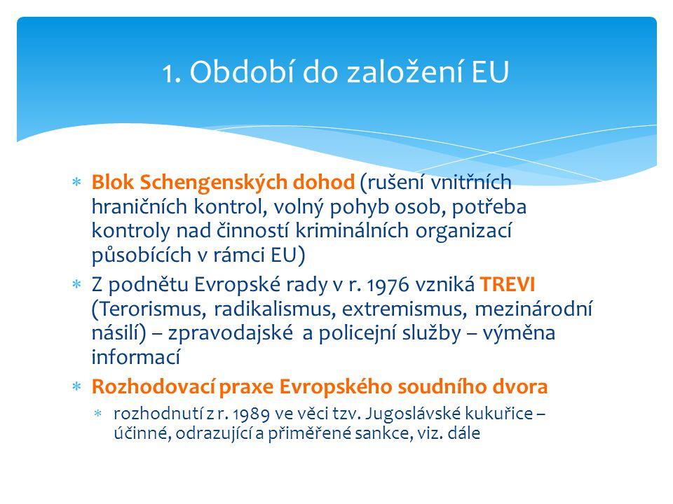  Blok Schengenských dohod (rušení vnitřních hraničních kontrol, volný pohyb osob, potřeba kontroly nad činností kriminálních organizací působících v