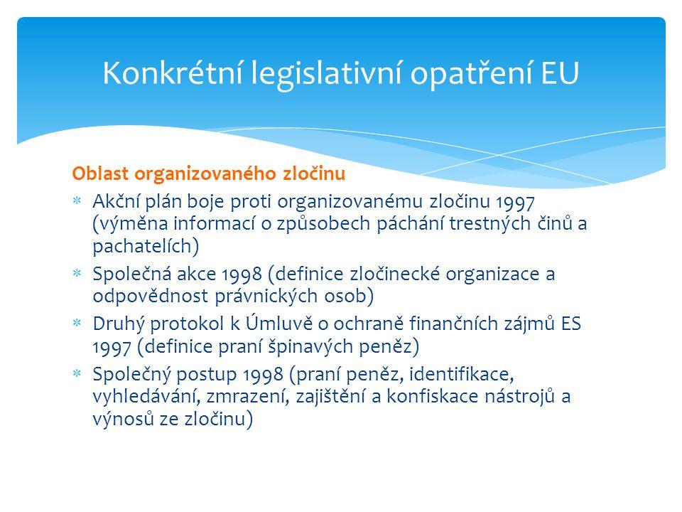 Oblast organizovaného zločinu  Akční plán boje proti organizovanému zločinu 1997 (výměna informací o způsobech páchání trestných činů a pachatelích)