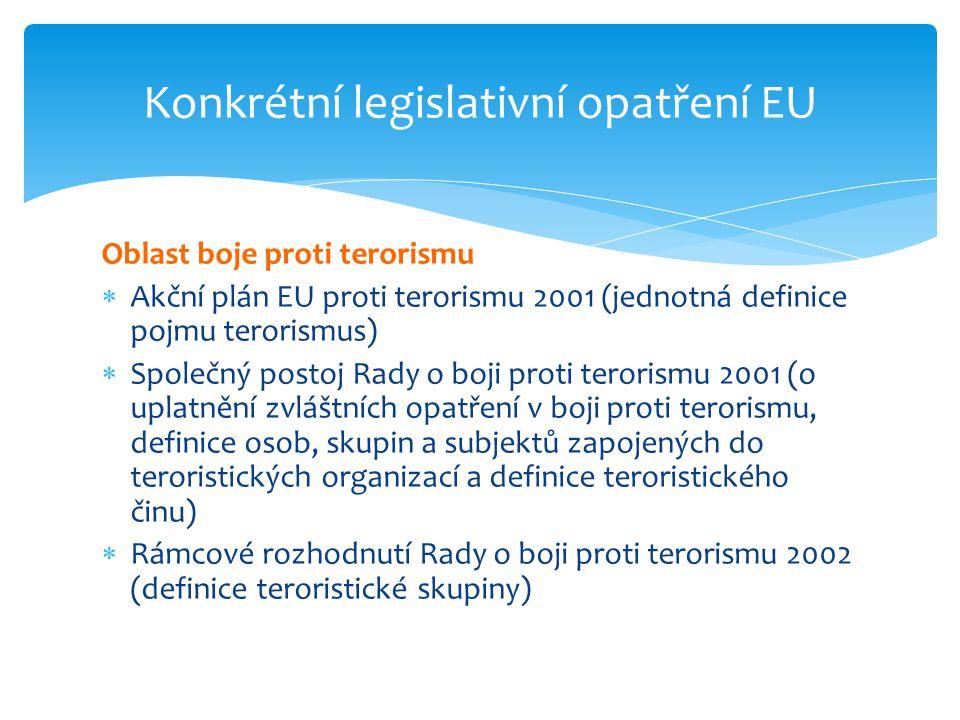 Oblast boje proti terorismu  Akční plán EU proti terorismu 2001 (jednotná definice pojmu terorismus)  Společný postoj Rady o boji proti terorismu 20