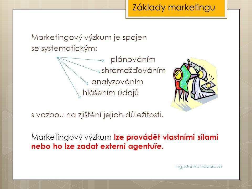 Ing. Monika Dobešová Marketingový výzkum je spojen se systematickým: plánováním shromažďováním analyzováním hlášením údajů s vazbou na zjištění jejich