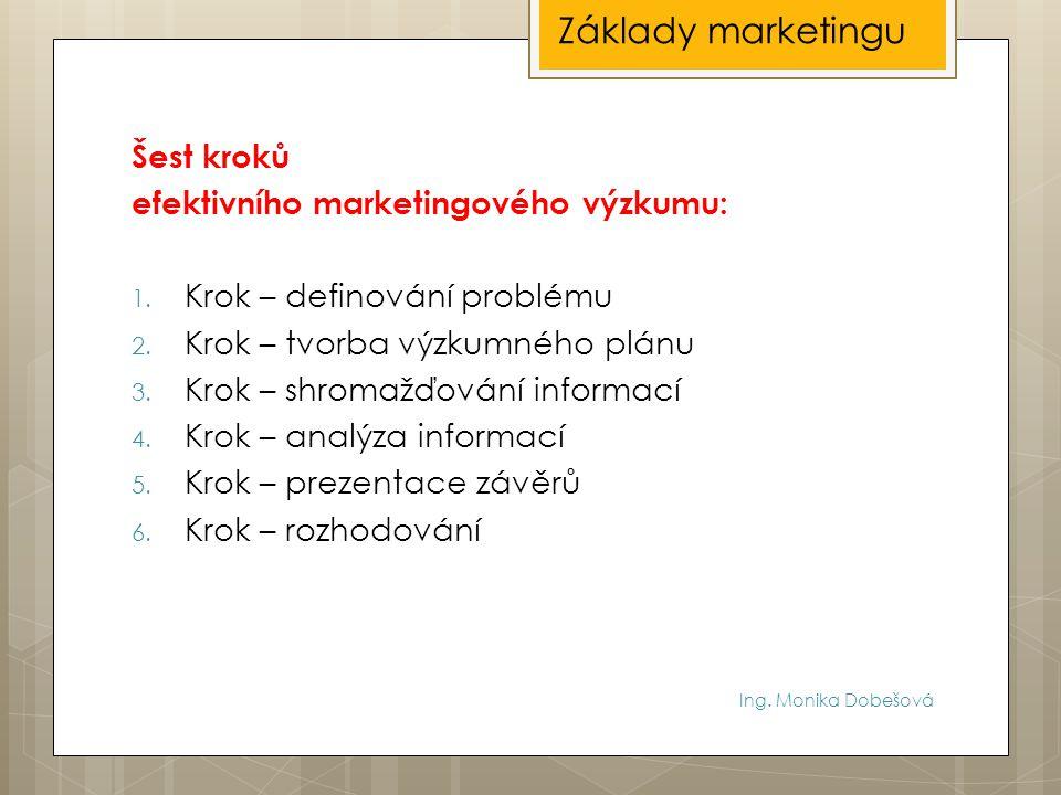 Ing. Monika Dobešová Šest kroků efektivního marketingového výzkumu: 1. Krok – definování problému 2. Krok – tvorba výzkumného plánu 3. Krok – shromažď