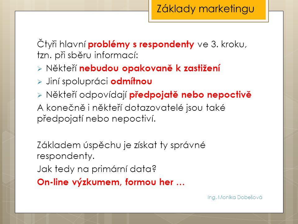 Ing. Monika Dobešová Čtyři hlavní problémy s respondenty ve 3. kroku, tzn. při sběru informací:  Někteří nebudou opakovaně k zastižení  Jiní spolupr