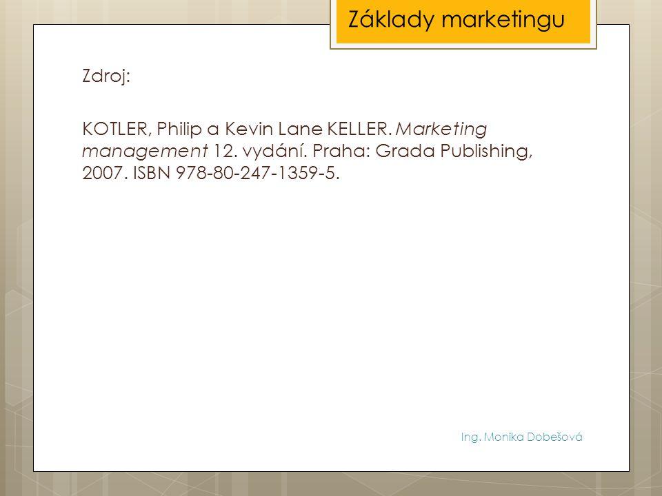Ing. Monika Dobešová Zdroj: KOTLER, Philip a Kevin Lane KELLER. Marketing management 12. vydání. Praha: Grada Publishing, 2007. ISBN 978-80-247-1359-5