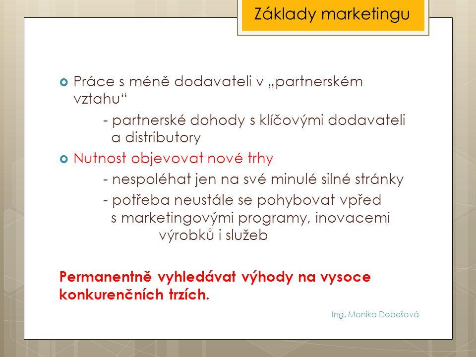 """Ing. Monika Dobešová  Práce s méně dodavateli v """"partnerském vztahu"""" - partnerské dohody s klíčovými dodavateli a distributory  Nutnost objevovat no"""