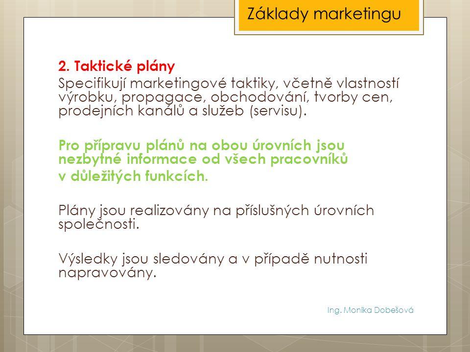 Ing. Monika Dobešová 2. Taktické plány Specifikují marketingové taktiky, včetně vlastností výrobku, propagace, obchodování, tvorby cen, prodejních kan
