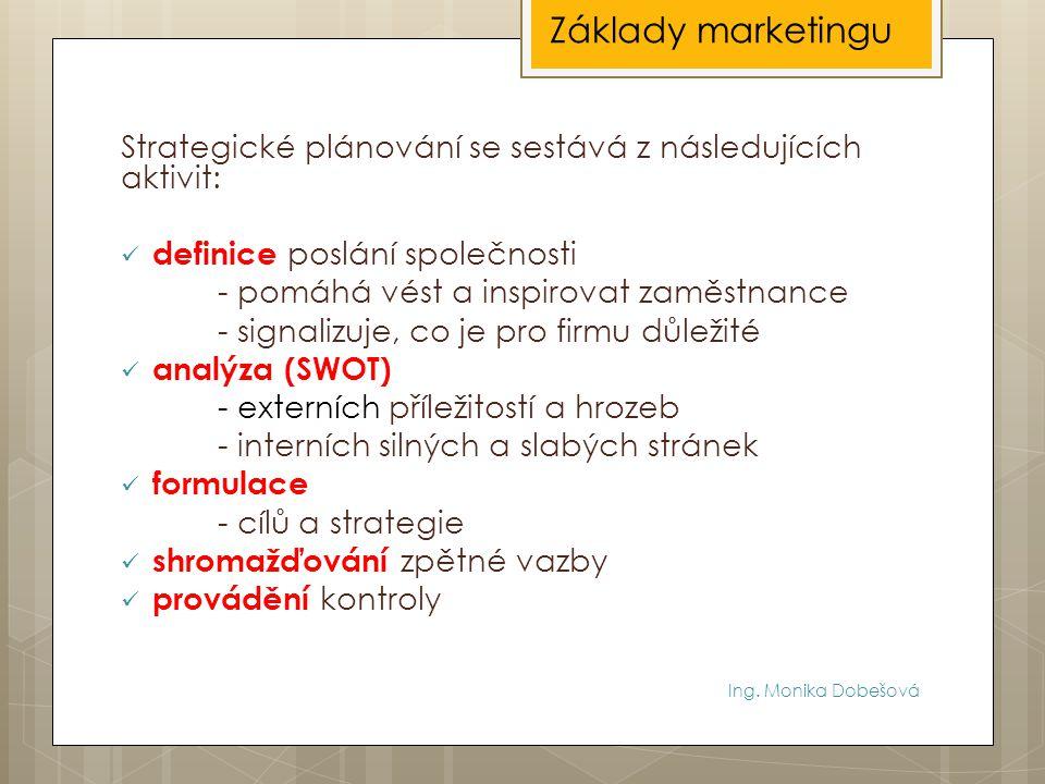 Ing. Monika Dobešová Strategické plánování se sestává z následujících aktivit: definice poslání společnosti - pomáhá vést a inspirovat zaměstnance - s