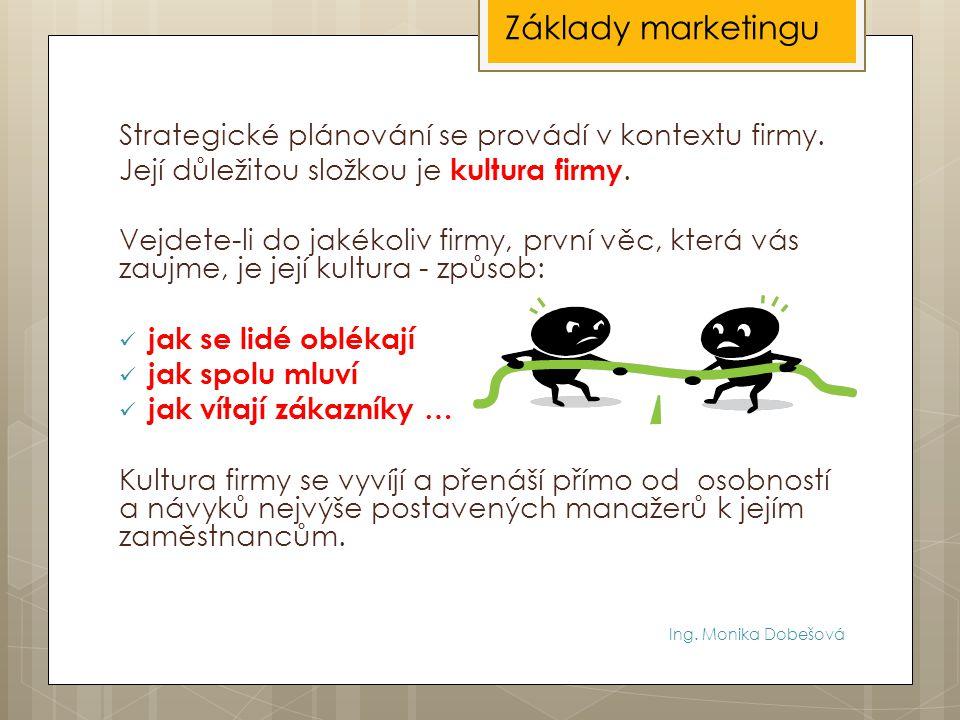 Ing. Monika Dobešová Strategické plánování se provádí v kontextu firmy. Její důležitou složkou je kultura firmy. Vejdete-li do jakékoliv firmy, první