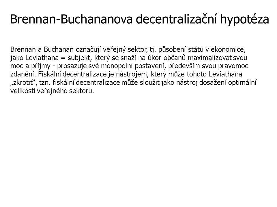 Brennan-Buchananova decentralizační hypotéza Brennan a Buchanan označují veřejný sektor, tj.