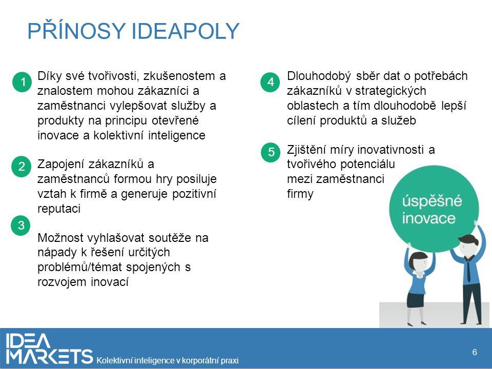 Díky své tvořivosti, zkušenostem a znalostem mohou zákazníci a zaměstnanci vylepšovat služby a produkty na principu otevřené inovace a kolektivní inteligence Zapojení zákazníků a zaměstnanců formou hry posiluje vztah k firmě a generuje pozitivní reputaci Možnost vyhlašovat soutěže na nápady k řešení určitých problémů/témat spojených s rozvojem inovací 2 3 1 4 5 PŘÍNOSY IDEAPOLY 6 Dlouhodobý sběr dat o potřebách zákazníků v strategických oblastech a tím dlouhodobě lepší cílení produktů a služeb Zjištění míry inovativnosti a tvořivého potenciálu mezi zaměstnanci firmy Kolektivní inteligence v korporátní praxi