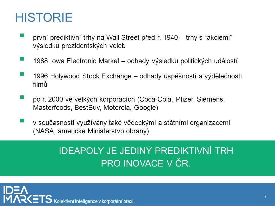 """HISTORIE 7  první prediktivní trhy na Wall Street před r. 1940 – trhy s """"akciemi"""" výsledků prezidentských voleb  1988 Iowa Electronic Market – odhad"""