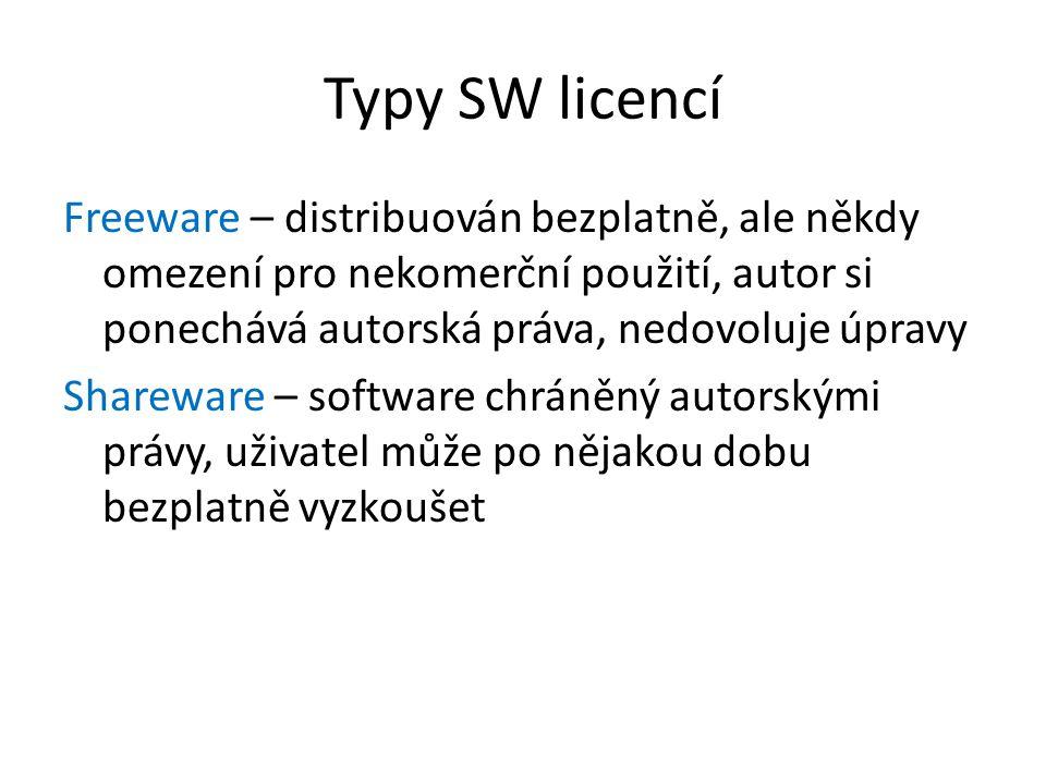 Typy SW licencí Freeware – distribuován bezplatně, ale někdy omezení pro nekomerční použití, autor si ponechává autorská práva, nedovoluje úpravy Shar