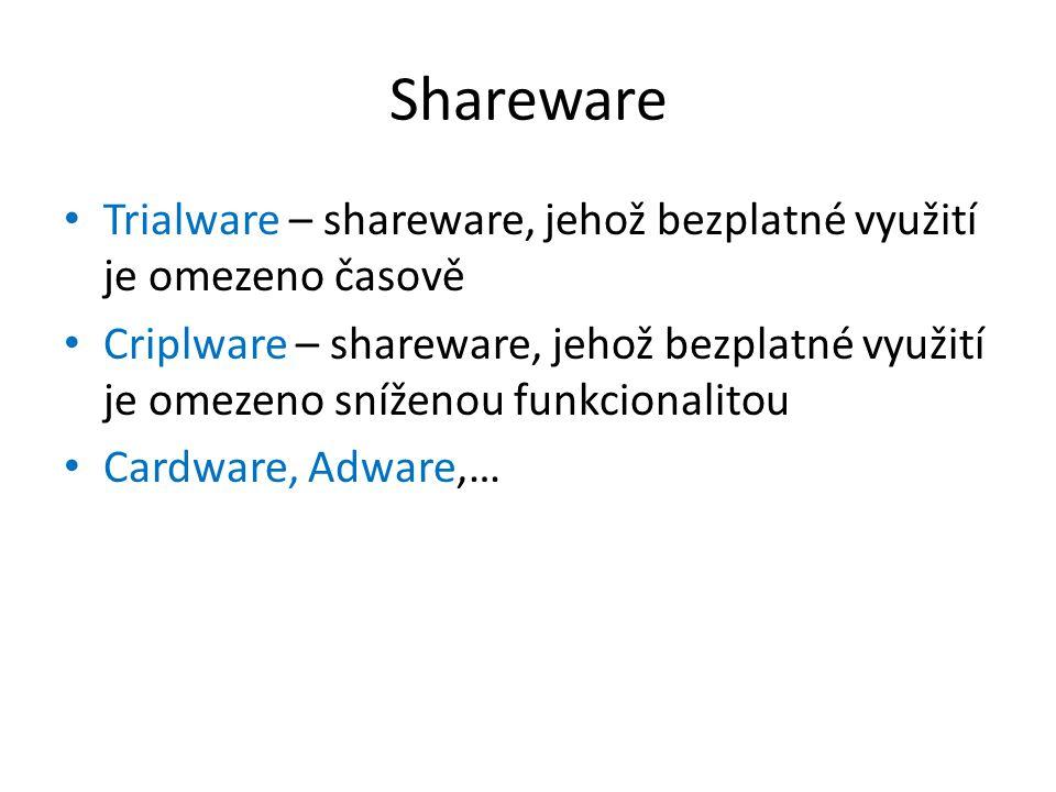 Shareware Trialware – shareware, jehož bezplatné využití je omezeno časově Criplware – shareware, jehož bezplatné využití je omezeno sníženou funkcion