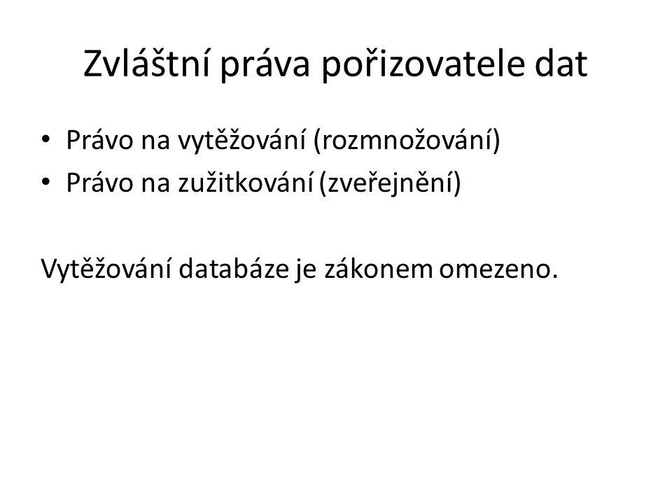 Zvláštní práva pořizovatele dat Právo na vytěžování (rozmnožování) Právo na zužitkování (zveřejnění) Vytěžování databáze je zákonem omezeno.