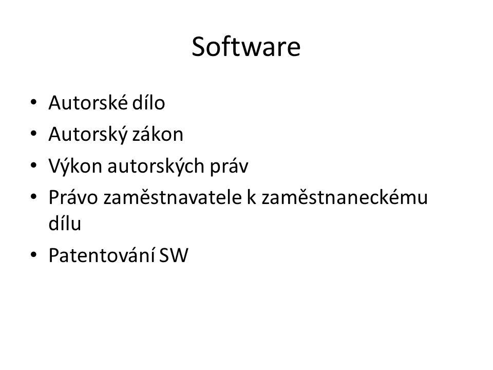 Software Autorské dílo Autorský zákon Výkon autorských práv Právo zaměstnavatele k zaměstnaneckému dílu Patentování SW