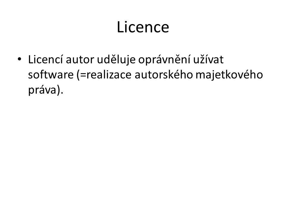 Licence Výhradní licence – autor poskytuje právo k užití díla pouze a jedině nabyvateli licence (nemůže poskytnout licenci další osobě) Nevýhradní licence – autor může licenci poskytnout neomezenému množství osob