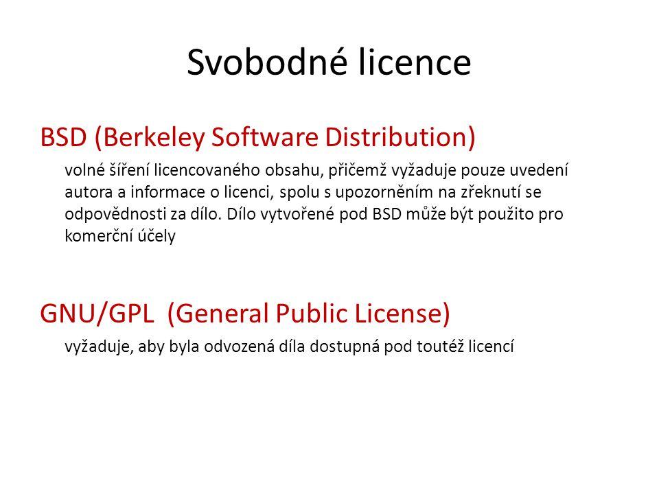 Typy SW licencí Open Source – šířen včetně zdrojového kódu, možnost úpravy Public Domain – volné autorské dílo, často je jedinou podmínkou uvedení autora, autorská práva nejsou chráněna