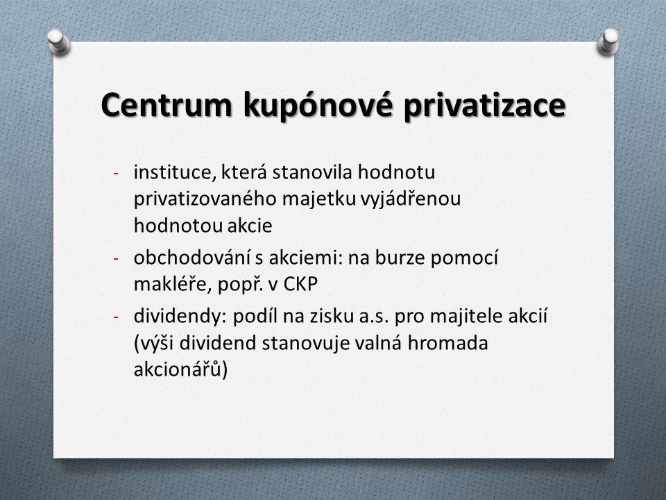 Centrum kupónové privatizace - instituce, která stanovila hodnotu privatizovaného majetku vyjádřenou hodnotou akcie - obchodování s akciemi: na burze