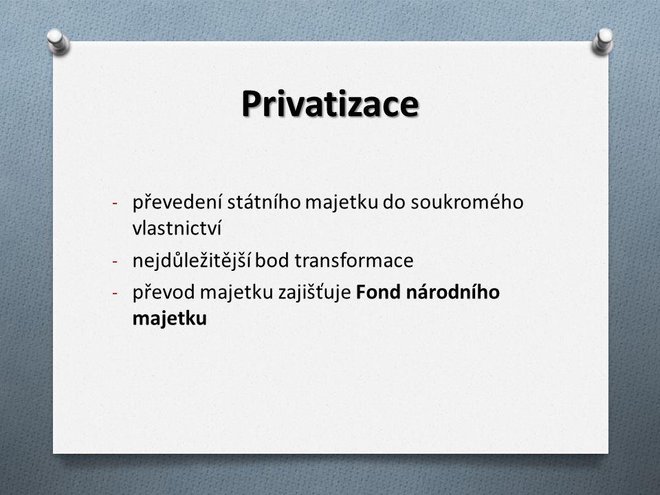 Privatizace - převedení státního majetku do soukromého vlastnictví - nejdůležitější bod transformace - převod majetku zajišťuje Fond národního majetku