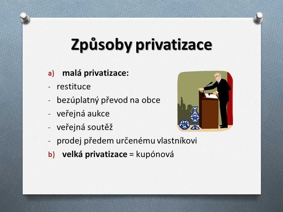 Způsoby privatizace a) malá privatizace: - restituce - bezúplatný převod na obce - veřejná aukce - veřejná soutěž - prodej předem určenému vlastníkovi