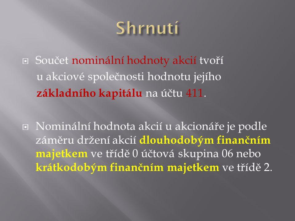  Součet nominální hodnoty akcií tvoří u akciové společnosti hodnotu jejího základního kapitálu na účtu 411.