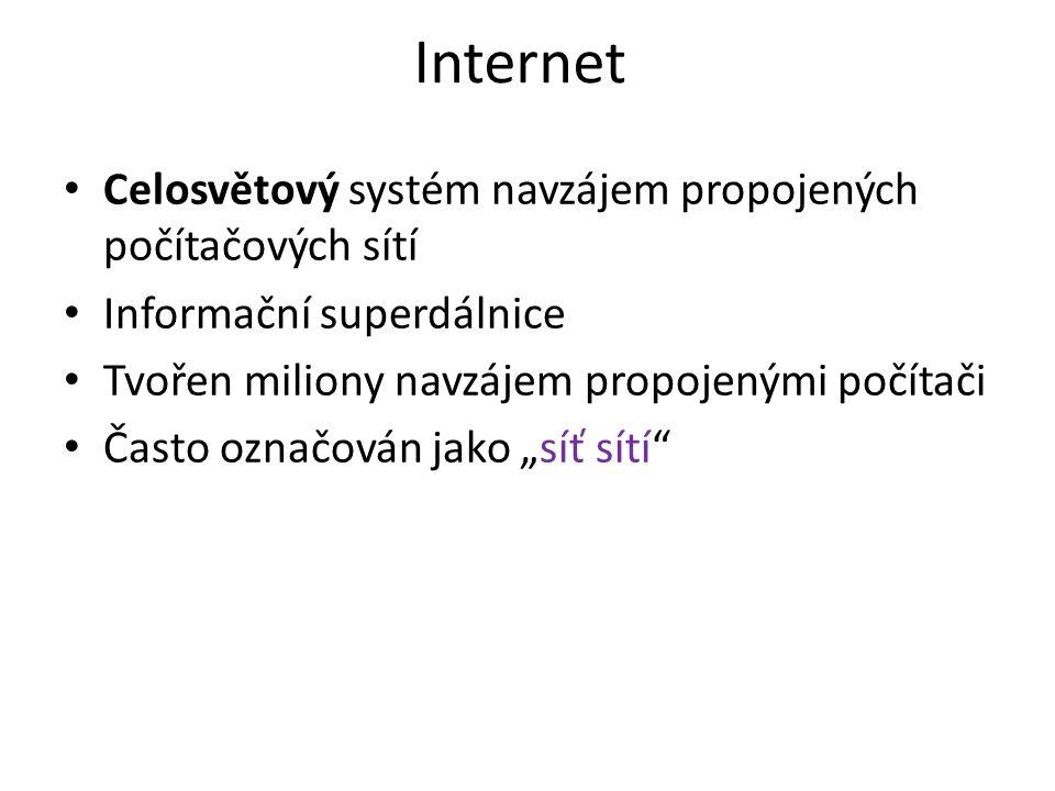 """Internet Celosvětový systém navzájem propojených počítačových sítí Informační superdálnice Tvořen miliony navzájem propojenými počítači Často označován jako """"síť sítí"""
