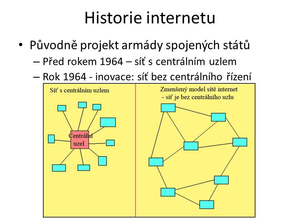 Historie internetu Původně projekt armády spojených států – Před rokem 1964 – síť s centrálním uzlem – Rok 1964 - inovace: síť bez centrálního řízení