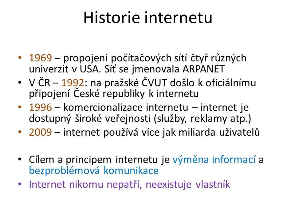Historie internetu 1969 – propojení počítačových sítí čtyř různých univerzit v USA.
