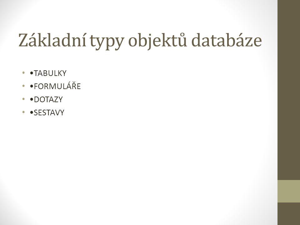 Základní typy objektů databáze TABULKY FORMULÁŘE DOTAZY SESTAVY