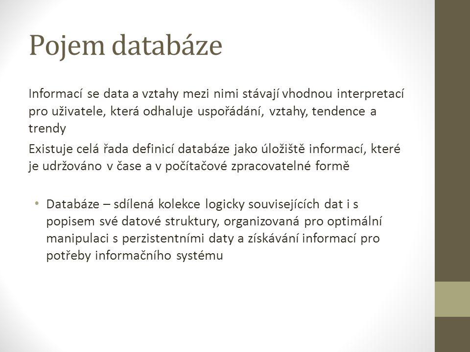 Pojem databáze Informací se data a vztahy mezi nimi stávají vhodnou interpretací pro uživatele, která odhaluje uspořádání, vztahy, tendence a trendy E