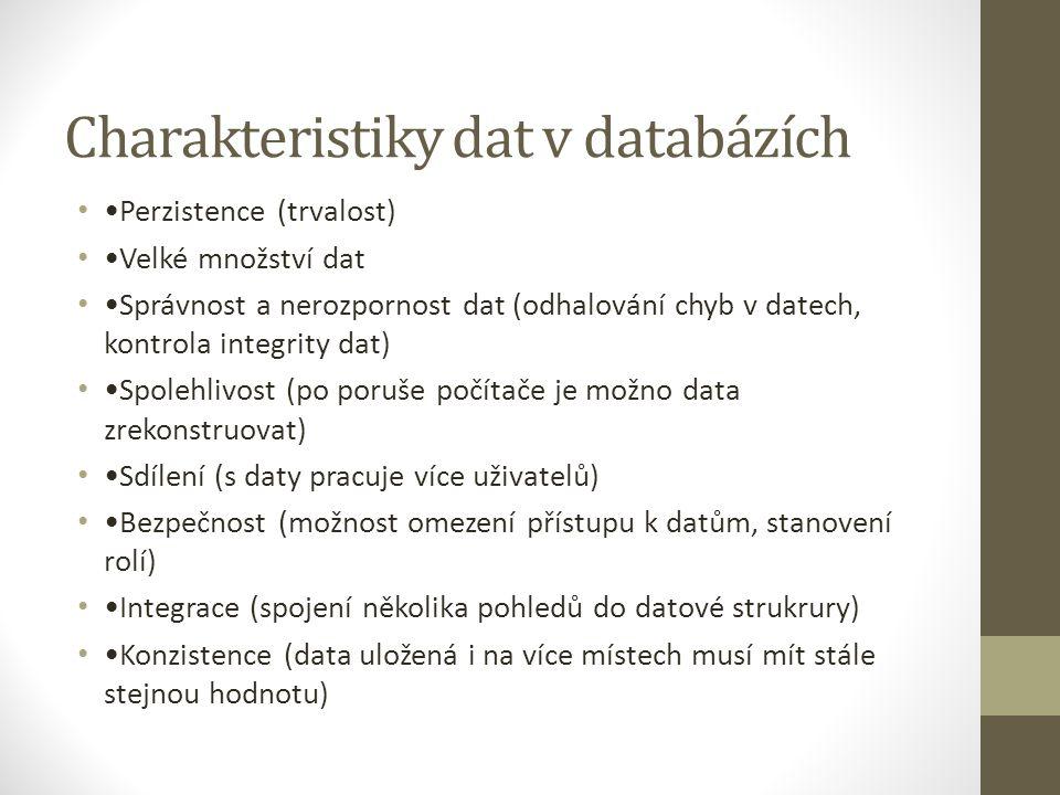 Charakteristiky dat v databázích Perzistence (trvalost) Velké množství dat Správnost a nerozpornost dat (odhalování chyb v datech, kontrola integrity