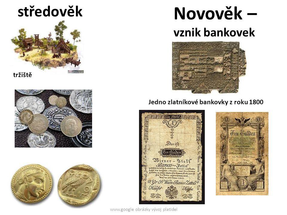 Papírové bankovky – podložené zlatem www.google obrázky vývoj platidel