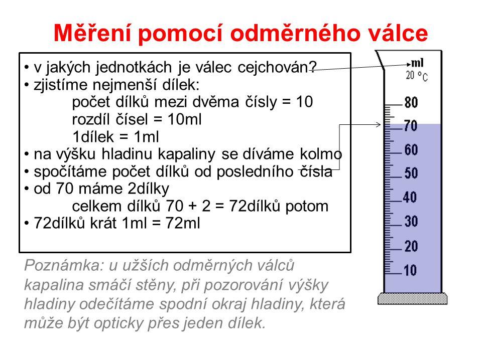 Měření pomocí odměrného válce v jakých jednotkách je válec cejchován? zjistíme nejmenší dílek: počet dílků mezi dvěma čísly = 10 rozdíl čísel = 10ml 1