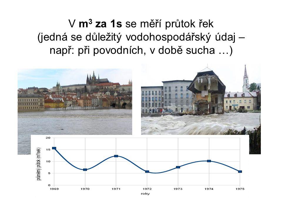 V m 3 za 1s se měří průtok řek (jedná se důležitý vodohospodářský údaj – např: při povodních, v době sucha …)