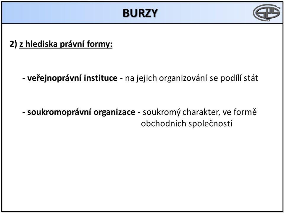 BURZY 2) z hlediska právní formy: - veřejnoprávní instituce - na jejich organizování se podílí stát - soukromoprávní organizace - soukromý charakter, ve formě obchodních společností
