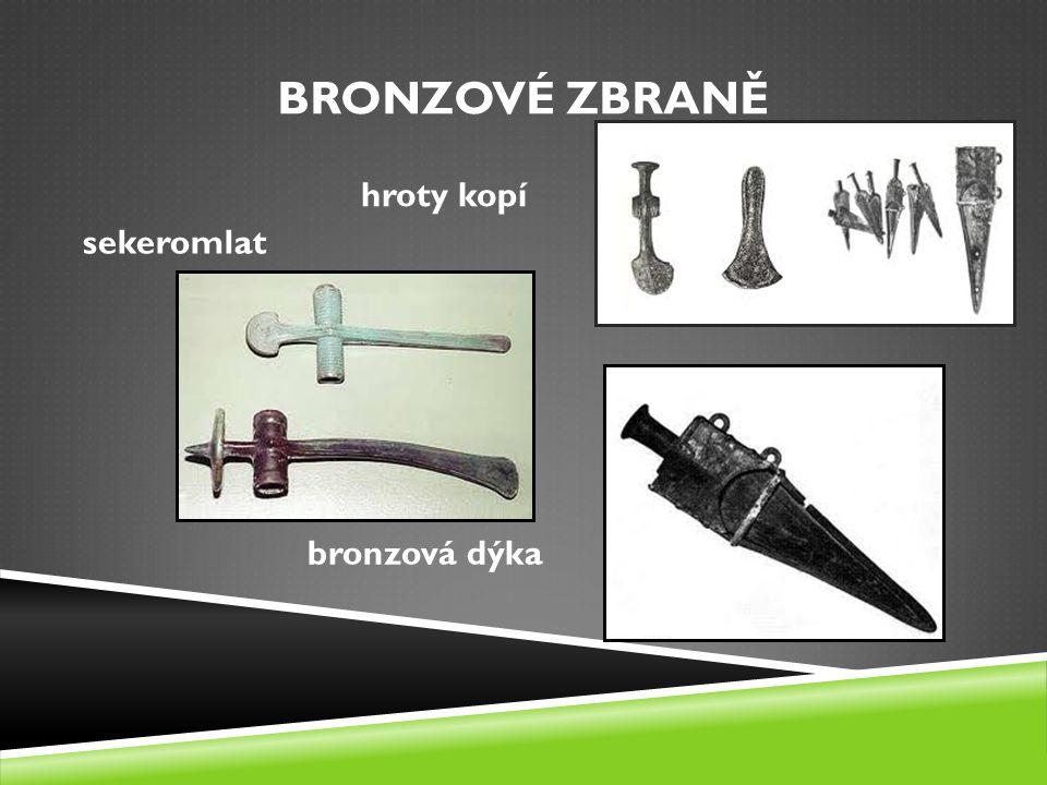 BRONZOVÉ ZBRANĚ sekeromlat bronzová dýka hroty kopí
