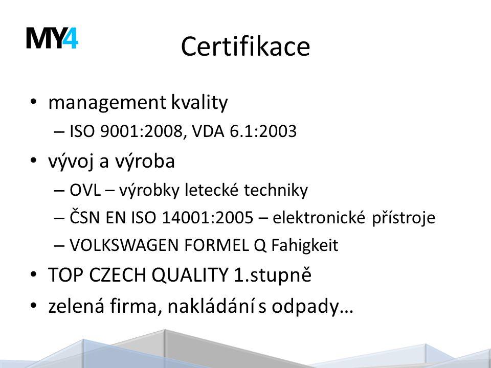 Certifikace management kvality – ISO 9001:2008, VDA 6.1:2003 vývoj a výroba – OVL – výrobky letecké techniky – ČSN EN ISO 14001:2005 – elektronické přístroje – VOLKSWAGEN FORMEL Q Fahigkeit TOP CZECH QUALITY 1.stupně zelená firma, nakládání s odpady…