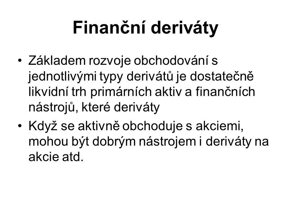Finanční deriváty Základem rozvoje obchodování s jednotlivými typy derivátů je dostatečně likvidní trh primárních aktiv a finančních nástrojů, které deriváty Když se aktivně obchoduje s akciemi, mohou být dobrým nástrojem i deriváty na akcie atd.
