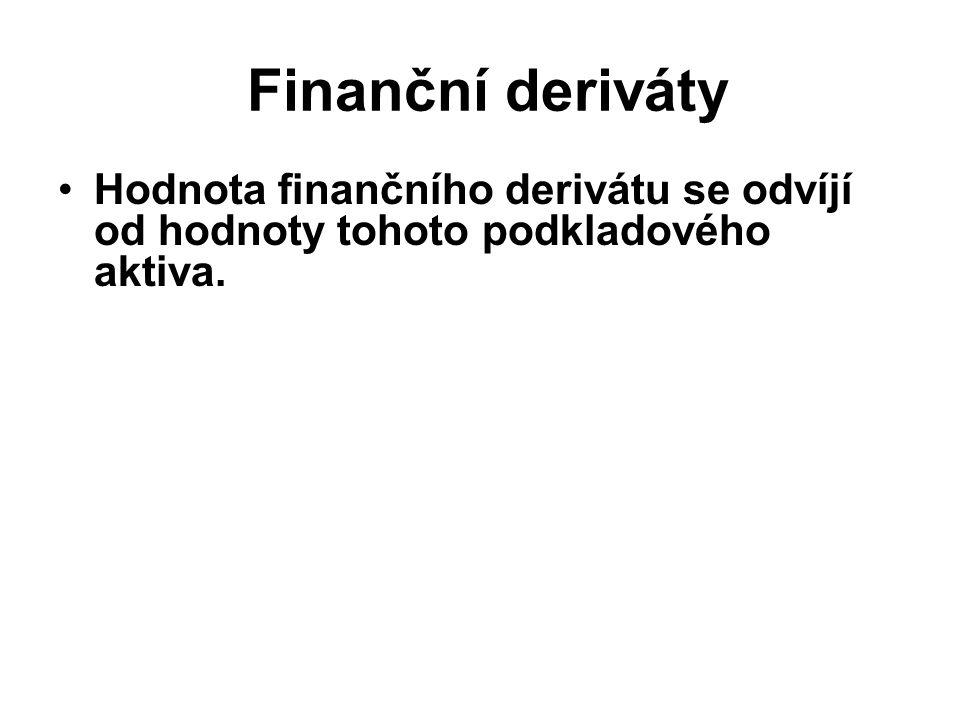 Finanční deriváty Hodnota finančního derivátu se odvíjí od hodnoty tohoto podkladového aktiva.