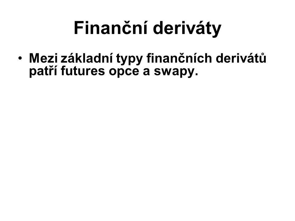 Finanční deriváty Mezi základní typy finančních derivátů patří futures opce a swapy.