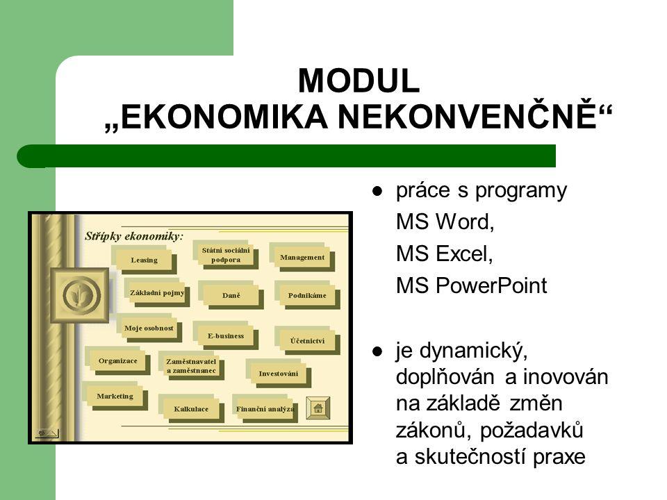 """MODUL """"EKONOMIKA NEKONVENČNĚ práce s programy MS Word, MS Excel, MS PowerPoint je dynamický, doplňován a inovován na základě změn zákonů, požadavků a skutečností praxe"""