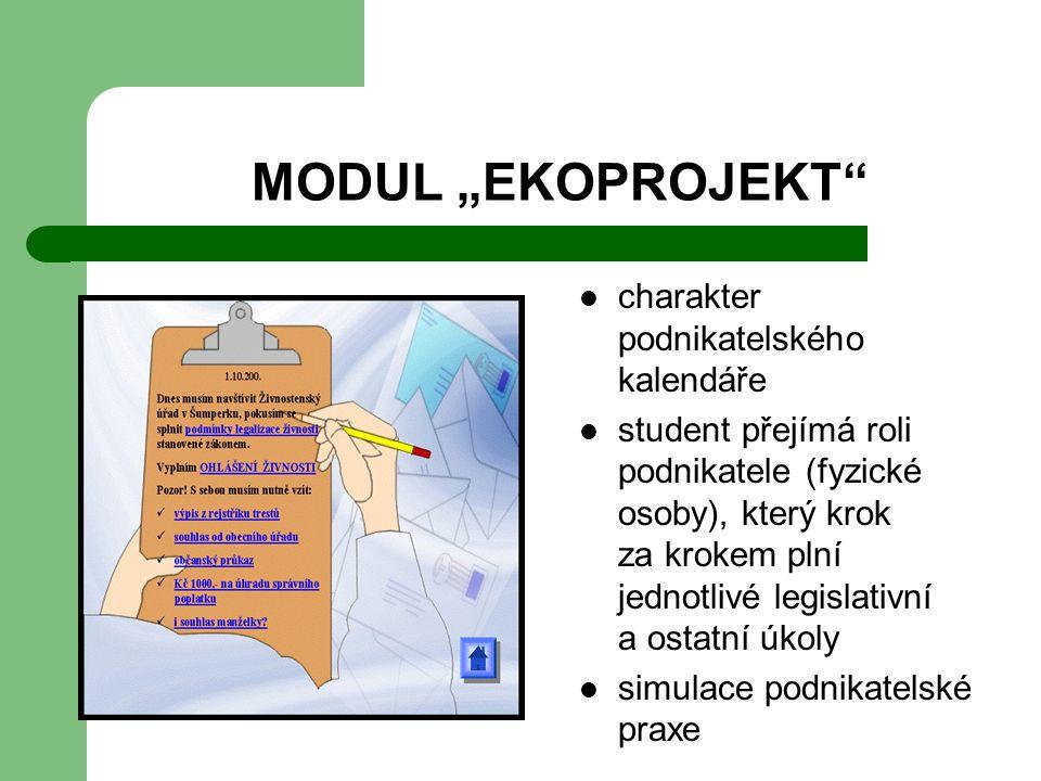 """MODUL """"EKOPROJEKT charakter podnikatelského kalendáře student přejímá roli podnikatele (fyzické osoby), který krok za krokem plní jednotlivé legislativní a ostatní úkoly simulace podnikatelské praxe"""