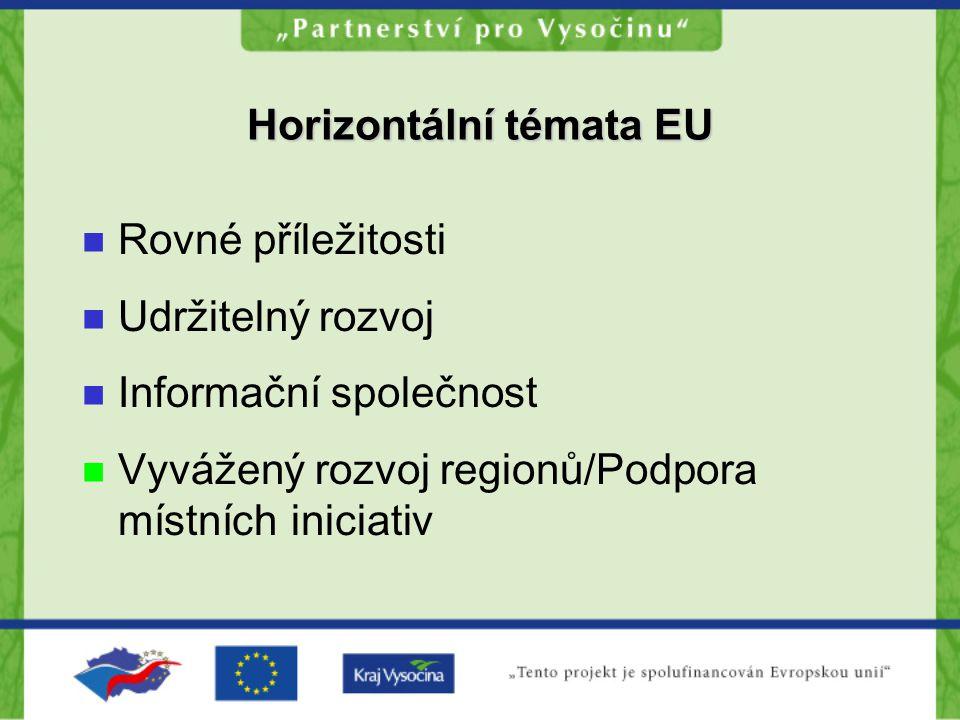 Horizontální témata EU Rovné příležitosti Udržitelný rozvoj Informační společnost Vyvážený rozvoj regionů/Podpora místních iniciativ