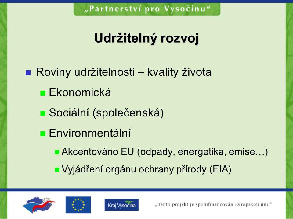 Udržitelný rozvoj Roviny udržitelnosti – kvality života Ekonomická Sociální (společenská) Environmentální Akcentováno EU (odpady, energetika, emise…)
