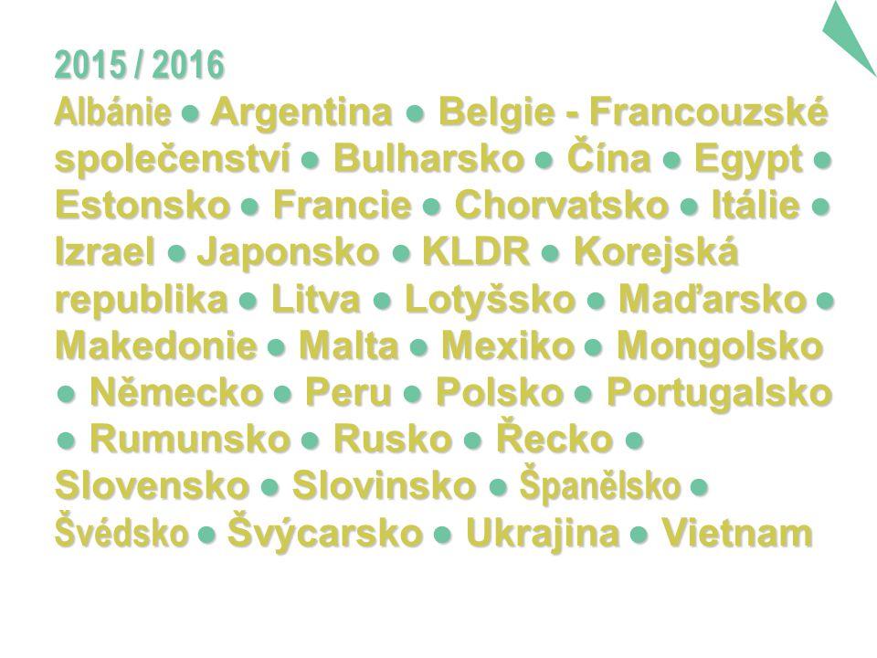 2015 / 2016 Albánie ● Argentina ● Belgie - Francouzské společenství ● Bulharsko ● Čína ● Egypt ● Estonsko ● Francie ● Chorvatsko ● Itálie ● Izrael ● Japonsko ● KLDR ● Korejská republika ● Litva ● Lotyšsko ● Maďarsko ● Makedonie ● Malta ● Mexiko ● Mongolsko ● Německo ● Peru ● Polsko ● Portugalsko ● Rumunsko ● Rusko ● Řecko ● Slovensko ● Slovinsko ● Španělsko ● Švédsko ● Švýcarsko ● Ukrajina ● Vietnam