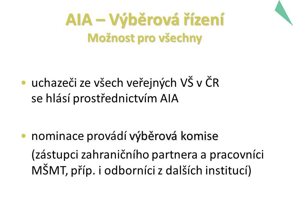 AIA – Výběrová řízení Možnost pro všechny uchazeči ze všech veřejných VŠ v ČR se hlásí prostřednictvím AIA výběrová komisenominace provádí výběrová ko