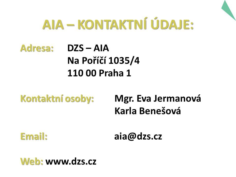 Adresa: Adresa: DZS – AIA Na Poříčí 1035/4 110 00 Praha 1 Kontaktní osoby: Kontaktní osoby: Mgr. Eva Jermanová Karla Benešová Email: Email: aia@dzs.cz