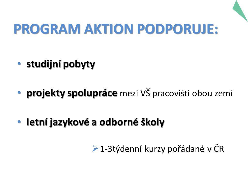 PROGRAM AKTION PODPORUJE: studijní pobyty studijní pobyty projekty spolupráce projekty spolupráce mezi VŠ pracovišti obou zemí letní jazykové a odborn