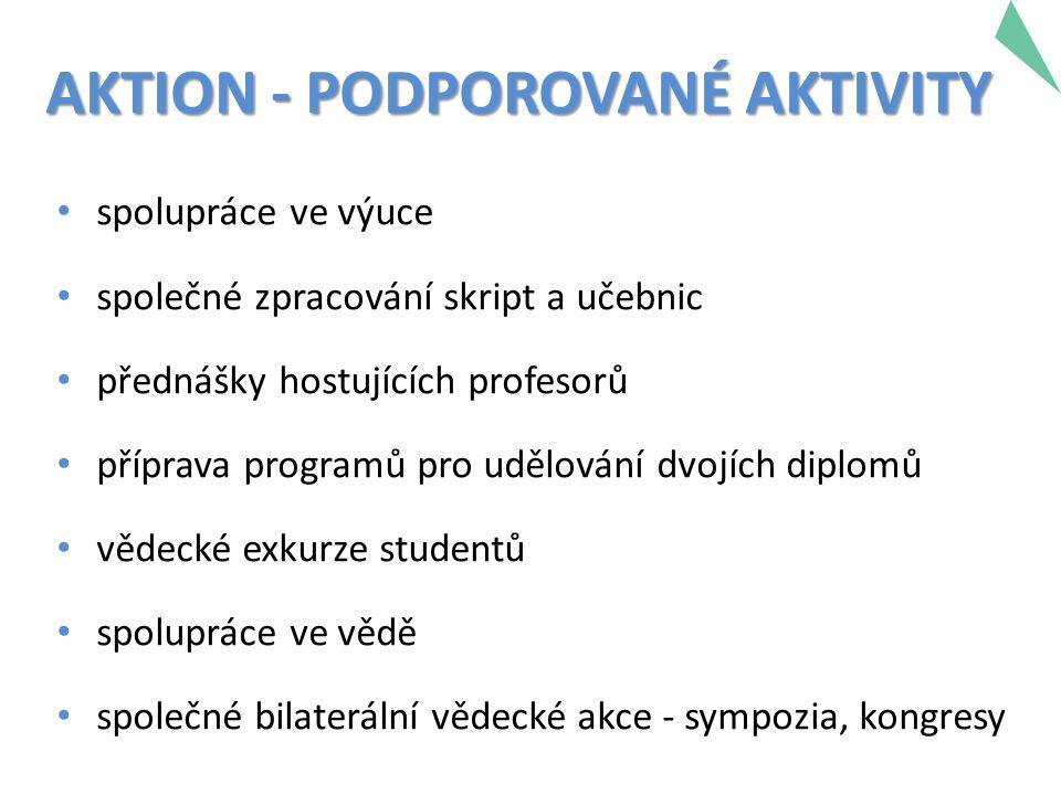 AKTION - PODPOROVANÉ AKTIVITY spolupráce ve výuce společné zpracování skript a učebnic přednášky hostujících profesorů příprava programů pro udělování